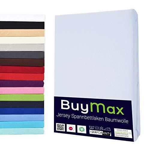 Buymax Spannbettlaken 120x200-130x200 cm Spannbetttuch Bettlaken 100% Baumwolle Jersey Bettbezug für Matratzen bis 25 cm Steghöhe, Weiß
