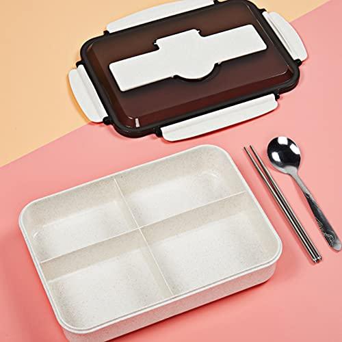 Bento Box 4 Grid Wheat Office Office Trabajador Caja de almuerzo Plástico Caja de almuerzo Microondas beige