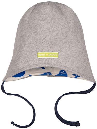 loud + proud Baby-Unisex Wendemütze Fleece Aus Bio Baumwolle, GOTS Zertifiziert Mütze, Grau (Grey Gr), 37/39 (Herstellergröße: 62/68)