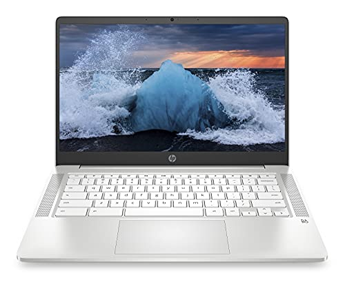 """2021 Newest HP Chromebook 14"""" HD Laptop for Business and Student, Intel Celeron N4000, 4GB RAM, 32GB eMMC, Backlit-KB, Webcam, Fast Charge, WiFi, USB-A&C, Chrome OS, w/64GB SD Card, GM Accessories"""
