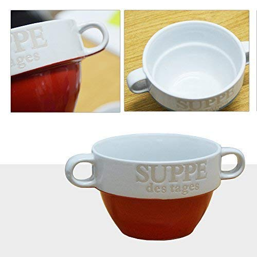 DRULINE 6er Set Suppentassen Suppentasse Suppenterrine aus Keramik Rot 8 cm Ø 13 cm