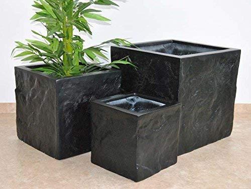 Pflanzkübel Blumenkübel Fiberglas Stein-Optik Quadrat L/B/H 40x40x40cm schwarz-matt.