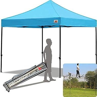 ABCCANOPY 30+Colors Pop up Canopy 10 X 10-Feet Commercial Instant Canopy Kit Ez Pop up Tent,Bonus Roller Bag, Sky Blue
