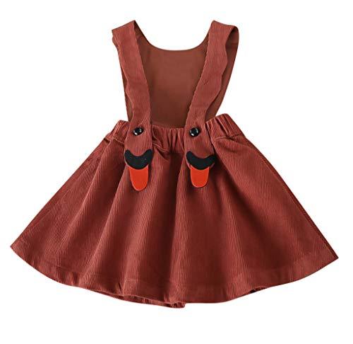 YWLINK MäDchen Overall Kleid Bib A-Linien Shiftkleid Latzkleid Süß Karikatur Kleiden Cord(Braun,100)