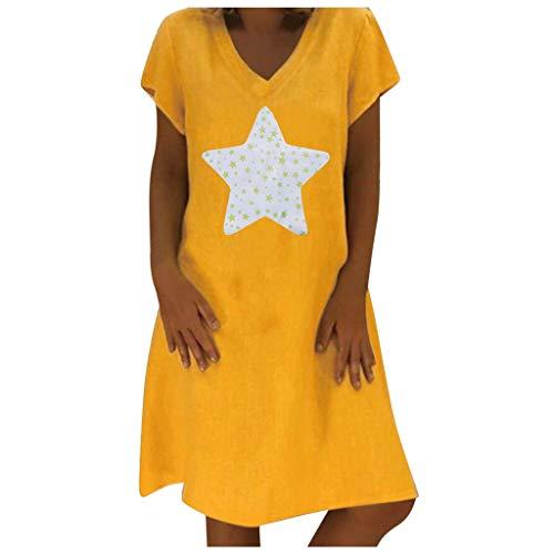 Mode Damen T Shirt Kleider, Frauen Sommerkleid Elegant Kurzarm A-Linie Star Print Kleid Casual V-Ausschnitt Strandkleider Freizeitkleid Knielang Kleid
