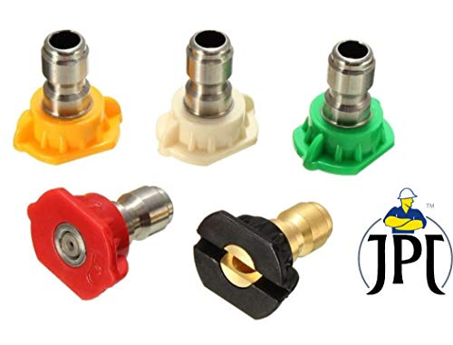 "JPT Multiple Degree Washer Spray Nozzle Tips Quick Pressure Washer Nozzle, 1/4"", 5-Pack"