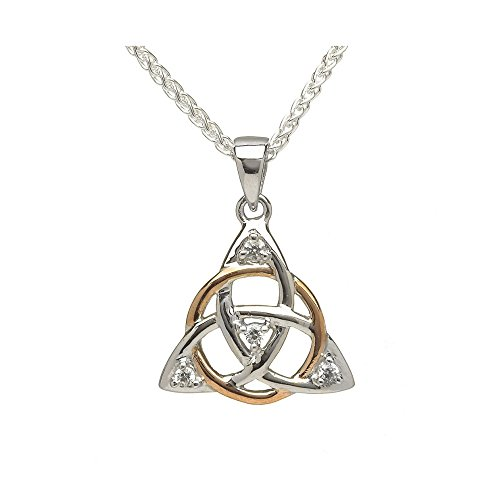 Biddy Murphy Trinity Knot Necklace Small Celtic Irish Sterling Silver & Rose Gold CZ Pendant Made in Ireland