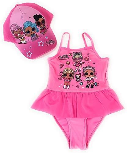 New Import LOL Surprise Badeanzug mit Volant für Strand oder Pool + Mütze LOL Surprise aus Baumwolle für Mädchen, Pink 5 Jahre