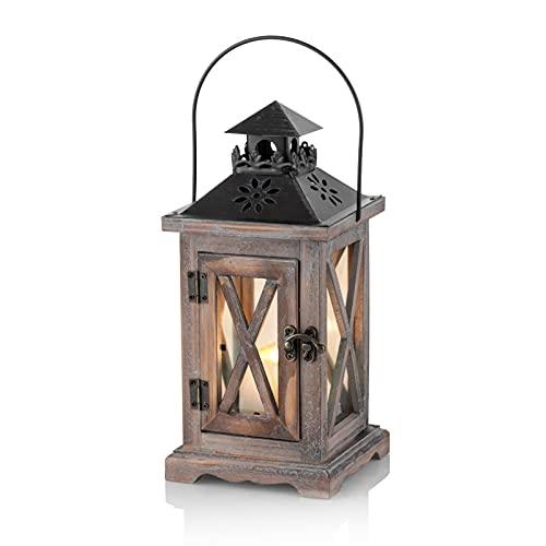 Sziqiqi Lanterna Portacandele Lanterne a Candela Decorative in Metallo in Legno Invecchiato Vintage per Centrotavola per Natrimonio Rustico Lanterna Pensile Fattoria da Interno e Esterno Decor 28cm