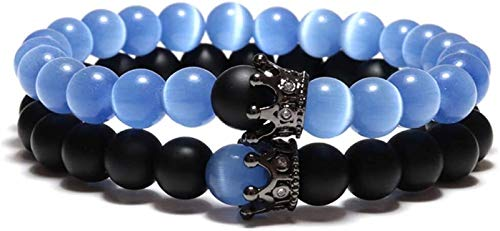 PRTOYO Pulsera de Piedra Mujer, 7 Chakra Piedra Natural Beads Blue Opal Bangle Brazaletes Crowny Joyería Yoga Pulseras Energía Pulseras ORGA DIFUSOR DE DIFUSOR para Pare 2 UNIDS/Set