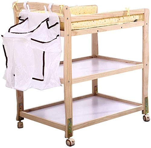 Babycommode Portable wikkelplaats Station Unit on Wheels, Infant Nappy Dresser Tafel met Storage Bag, in hoogte verstelbaar Babyverzorging tafel