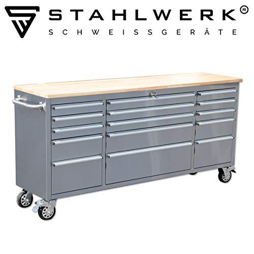 STAHLWERK Werkstattwagen, Küchenwagen, polierter Edelstahl, 9 Schubladen, 6 Auszüge, modularer Aufbau, leichtgängige Schubladen, stabile Lenkrollen mit Feststellbremse