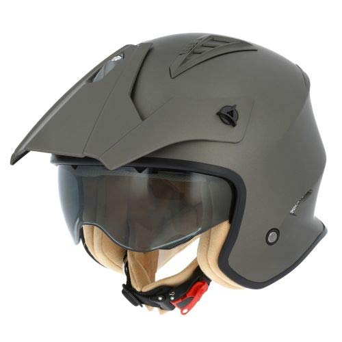 Astone Helmets - Casque de moto MINI CROSS monocolor - Casque jet au look enduro - Casque de moto look cross - casque de ville compact - matt brown L