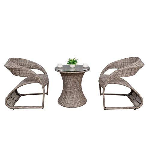 NBVCX Decoración de Muebles KIMSAI Juego de Muebles de Porche 3 Piezas PE Rattan Sillas de Mimbre Cojín con Mesa Juegos de Muebles de jardín al Aire Libre Patio Balcón Mesa y sillas Gris