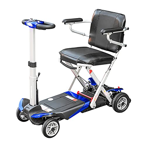 YX-ZD Scooter De Movilidad De 4 Ruedas Plegable Automático Sillas De Ruedas Eléctricas Ligeras Scooter De Movilidad Eléctrico con Faro LED, Se Puede Transportar En El Avión Fácil Transporte,Azul