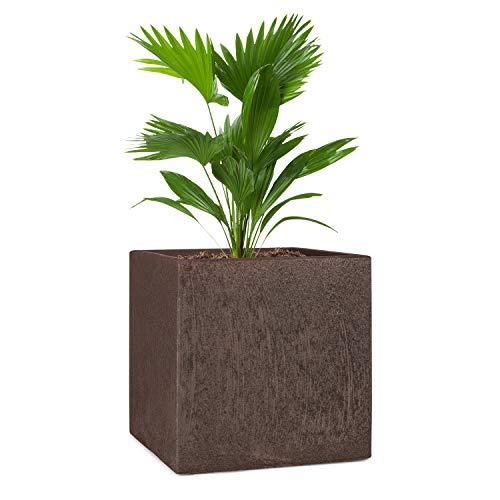 blumfeldt Solid Grow Rust - Vaso per Piante, 40 x 41 x 40 cm (LxAxP), Materiale: Fibreclay, Protezione da UV & Antigelo, Resistente alle Intemperie, per Uso al Chiuso e all Aperto, Color Ruggine