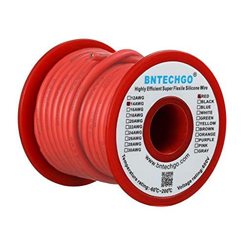BNTECHGO 14 Gauge Silicone Wire Spool 25 ft Red Flexible 14 AWG Stranded Tinned Copper Wire