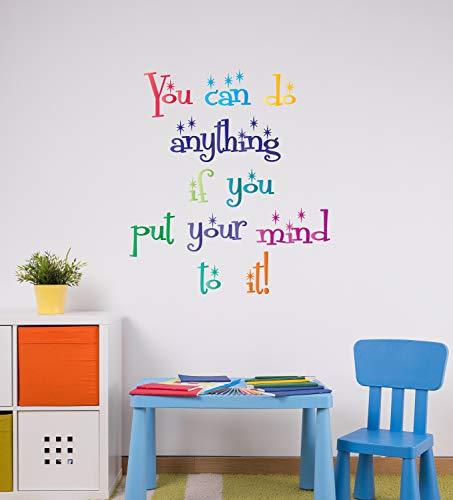 CG921 Sticker mural en vinyle avec inscription « You Can Do Anything Inspiring Saying » pour salle de jeux, salle d'étude, décoration de salle de jeu, couleurs dégradées