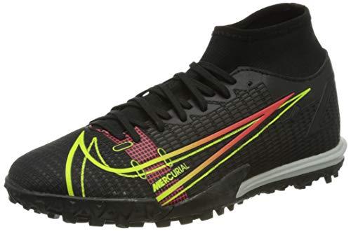 Nike Herren Mercurial Superfly 8 Academy TF Football Shoe, Black/Cyber-Off Noir-Rage Green-Siren Red, 43 EU