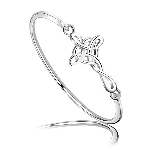 WSNANG Celtic Knot Cross Open Bangle Bracelet Religious Infinity Love Irish Celtics Jewelry Gift for Women Girls (Celtic Knot Cross BR)