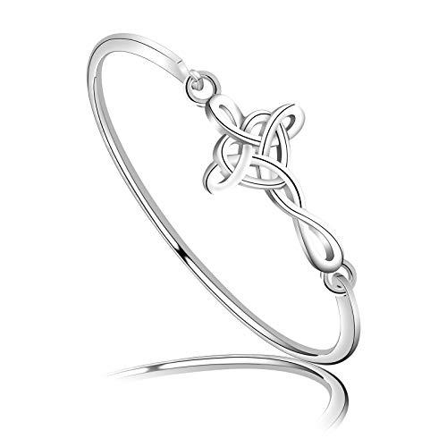 WSNANG Celtic Knot Cross Open Bangle Bracelet Religious Infinity Love Irish Celtics Jewelry Gift for Women Girls (Celtic Knot Cross BR)