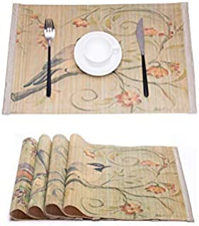 KFZ Dinner Mat Natural Bamboo Placemats for Dining Table, Unique Laser Printed Design with Birds Floral Pattern Heat Insulation, Stain-Resistant, Washable Place Mats, Set of 4 Different Patterns