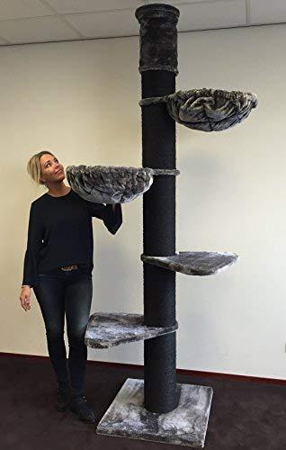 Tiragraffi per gatti grandi xxl Maine Coon Tower Blackline Grigio dal pavimento al soffitto aggiustabile da 245cm a 265cm adulti grande gatto albero enormi giganti XL