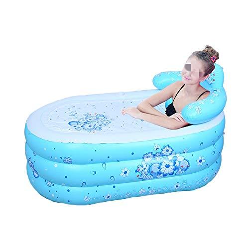 Cubo de baño Plegable Bañera de hidromasaje Inflable de PVC Plegable Espesado de hidromasaje for Adultos Bañera for baño de la Familia SPA fácil de Instalar Portátil (Color : Blue, Size : 130C