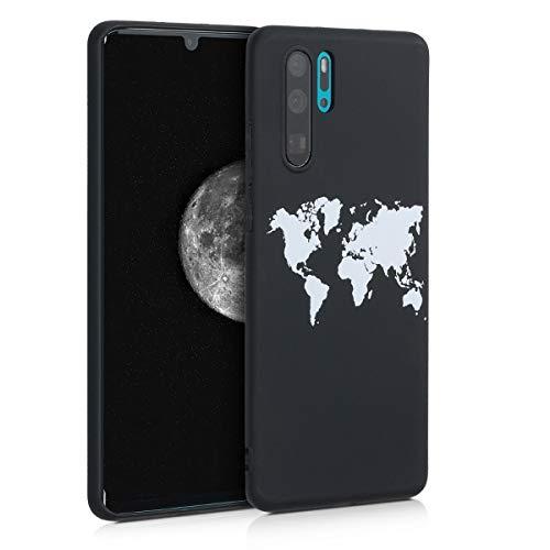 kwmobile Hülle kompatibel mit Huawei P30 Pro - Handyhülle - Handy Case Travel Umriss Weiß Schwarz
