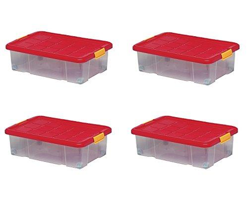 4 Boîtes De Rangement Plastique 34L, 60 x 40 x 18 cm, Boîte Dessous De Lit Avec Couvercle Et Sur Roulettes