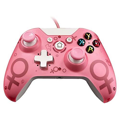 GZW-Shop Kabelgebundener Controller Gamepad für Xbox One, Xbox One S, Xbox One X,Xbox Series X, Windows PC Controller mit Dual-Vibration (Pink)