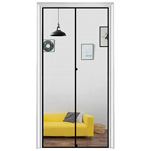 MAGZO Magnetic Screen Door 34 x 80, Durable Fiberglass Screen Doors with Magnets Fit Door Size 34' x 80' Entry Front Back Patio Sliding Home Wooden Door Screen Mesh Net with Full Frame Grey