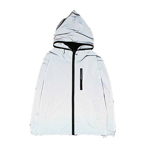 Edgogvl Men's Outwear 3M Reflective Zipper Hooded Windbreaker Lightweight Runing Jacket XL Grey