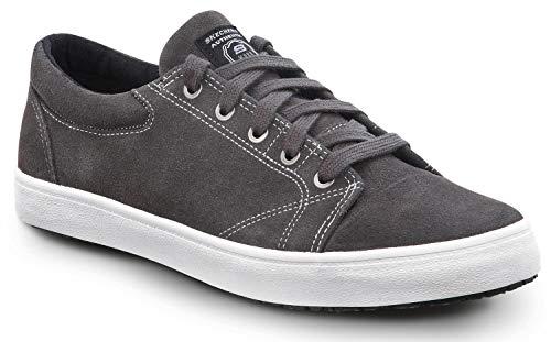 Skechers Work Rick - Men's, Grey/White, Soft Toe, Lace Up (10.0 M)