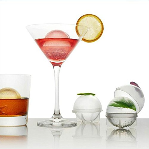 Tailcas® 4 Stück Silikon & PP DIY Mini Runde Ice Ball Mold Eis Ball Schimmel Eiswürfelform Eisform Eiskugel Eisbälle Formen Eis Maker für Whiskey, Cocktail, Saft, Soda, Alkohol - L (Farbe im Random)