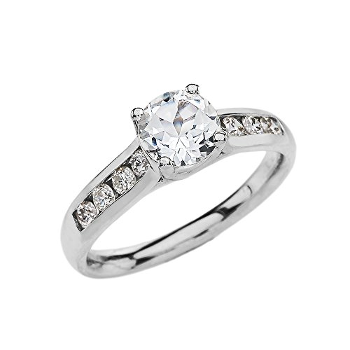 Channel Set Diamond White 9 ct Gold Engagement Solitaire Ring with 1 Carat White Topaz Center Stone SII