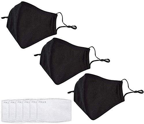 3 pcs Maschere anti-polvere riutilizzabili PM 2.5 anti-polvere lavabile anti-appannamento antibatterico filtro a carboni attivi bocca regolabile con 6 fogli di cotone filtro aria