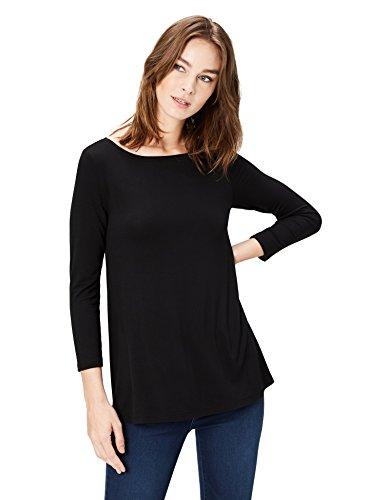 Amazon-Marke: Daily Ritual Jersey 3/4-Sleeve Bateau-Neck Swing T-Shirt, Schwarz (black), Small