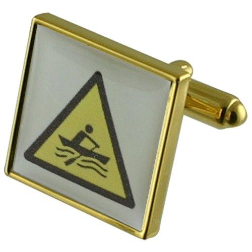 Select Gifts Rudern Wassersport Goldene Manschettenknöpfe personalisiert graviert box