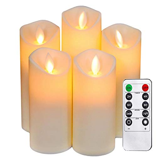 Flameless Candles Moving Wick with Remote&Timer,led Pillar Candles flicering Dancing Flame,Battery Operated Fake Candles,Electric Candles for Christmas,Party Décor.(5Pack H 5
