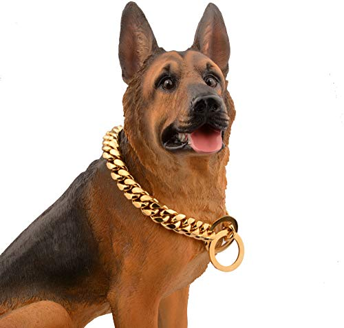Collares Básicos Cadena Para Perro De 14 Mm De Diámetro De Alambre Acero Inoxidable Acero Titanio Chapado Al Vacío Encriptación En Oro Cadena De Perro De Entrenamiento De Cadena Cubana, 30 Pul