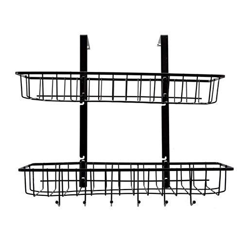 Flower Pot Rack Onder plank mand, Under plank tafel opslag, Dubbellaags, zonder boren, Metal Wire mand roestvrij staal -black 17x6x16inch (43.5x14x41cm), Maat: 17x6x16inch (43.5x14x41cm), Kleur: Blac
