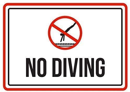 "DKISEE Blechschild aus Aluminium mit Aufschrift ""No Diving Swimming Pool Spa"" 20,3 x 30,5 cm"