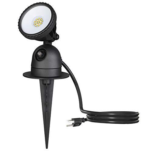EDISHINE Outdoor LED Spotlight Waterproof, Dusk to Dawn Light Sensor, 120V 12W 1200LM 4000K Warm White Landscape Light with Plug for Tree,Yard,Flag,...