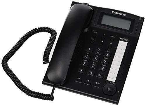 Panasonic KX-TS880 - Teléfono fijo con cable (LCD, Entrada Jack, marcación directa, altavoz, identificador de llamadas, reloj), color negro