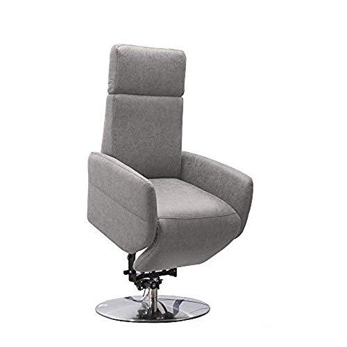 Cavadore TV-Sessel Cobra mit 2 E-Motoren und Aufstehhilfe / Elektrischer Fernsehsessel mit Fernbedienung / Relaxfunktion, Liegefunktion / bis 130 kg / M: 71 x 110 x 82 / Lederoptik Hellgrau