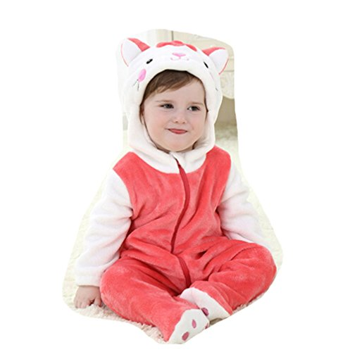 OHmais Bébé Fille garçon Unisexe Grenouillère Costume Deguisement Combinaison Pyjamas Hiver Rouge Chat