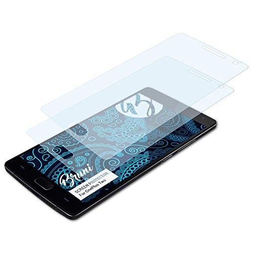 Bruni Schutzfolie kompatibel mit OnePlus Two Folie, glasklare Bildschirmschutzfolie (2X)