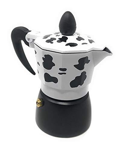 Vetrineinrete® Caffettiera Effetto Mucca Moka 1 2 3 o 6 Tazze Macchina del caffè in Alluminio per Espresso Idea Regalo 88889 (6 Tazze) D82