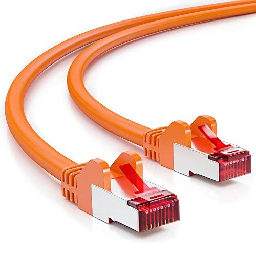 deleyCON 1,5m CAT6 Patchkabel S/FTP PIMF Afscherming CAT-6 RJ45 Netwerkkabel Ethernetkabel LAN DSL Switch Router Modem Access Point Patchvelden - Oranje